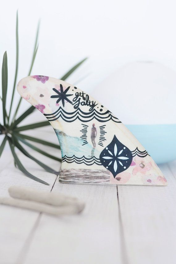 Decorated wooden surf fins: Girl by XLReight on Etsy