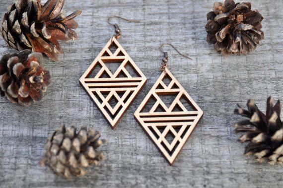 Rhombus Laser Cut Wood Earrings
