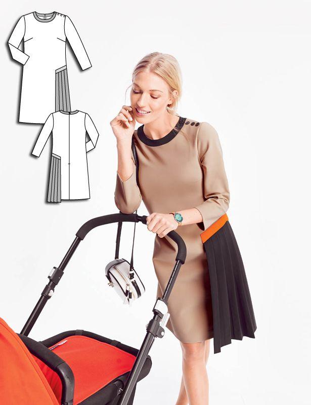 Shift Dress with Side Pleat 08/2015 #121B