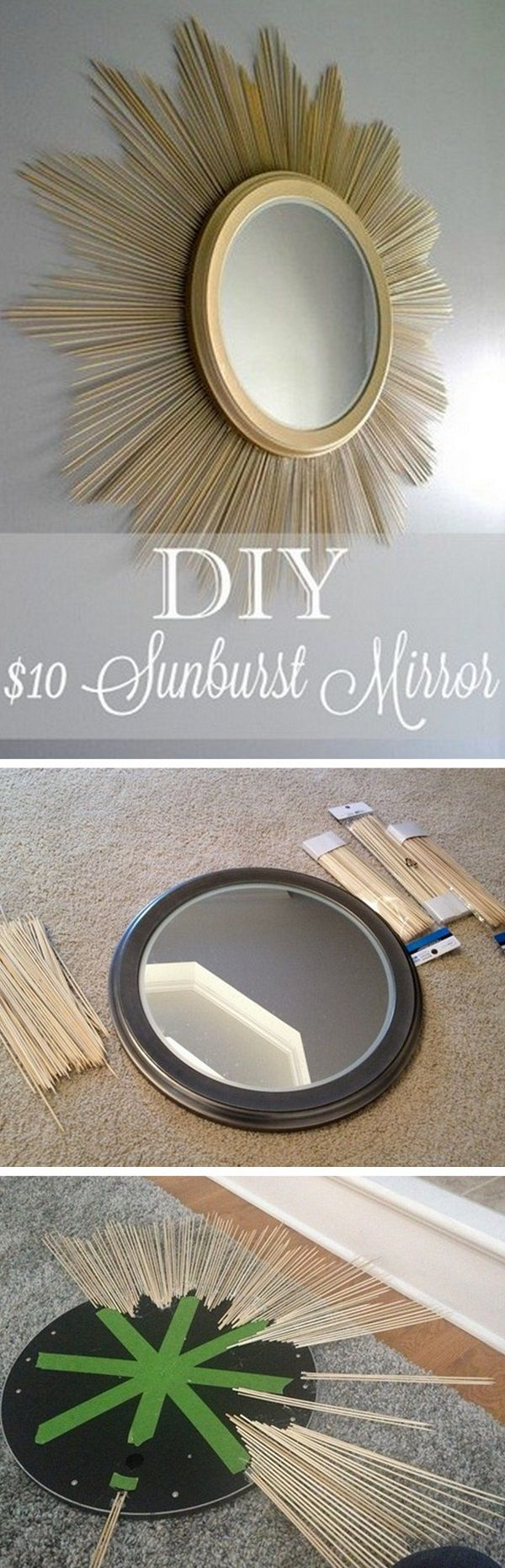 Check out how to make this DIY sunburst mirror for $10 @istandarddesign