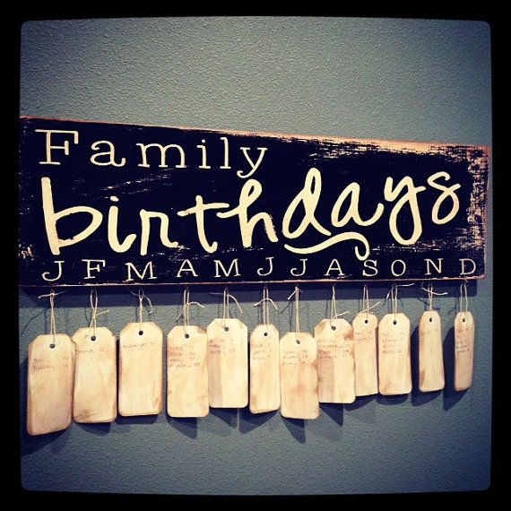 Family birthday sign - Note to self, I don't like the single initials for the months. Needs to say Jan, Feb, Mar.....