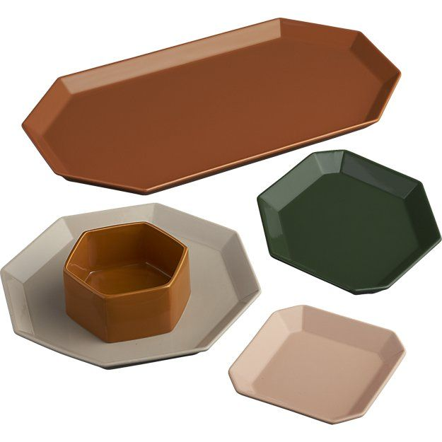 Shop intermix camel platter.   Geometric octagon serves up a gem-like effect in handmade stoneware and modern holiday colors.  Raised rim adds 3D depth to small bites and sweets, cheese and charcuterie.