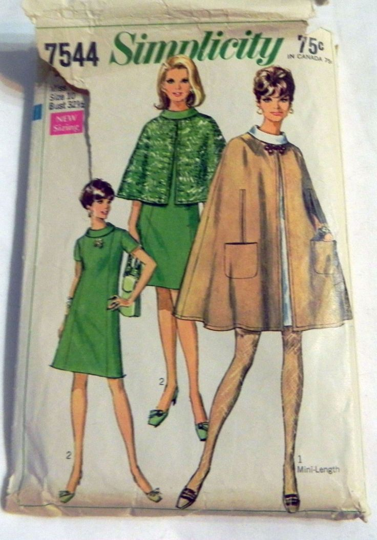 "1960s Mod A-line Dress and Cape sewing pattern Simplicity 7544 Size 10 Bust 32.5"" by retroactivefuture on Etsy"