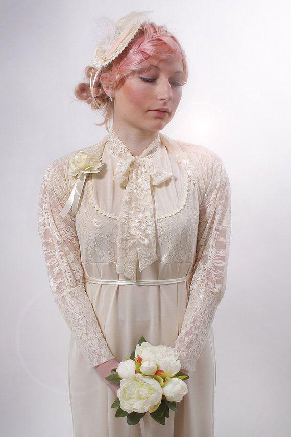 Bridal festive long lace dress 'Mina' cream beige by mydearlove