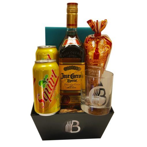 The Paloma $60 1 – Popcornopolis Gourmet Flavored Popcorn 1 – BroBasket Tumbler Glass (11oz) 1 – BroBasket Reusable Tin The Mixer 2 – Cans of Squirt Soda The Booze 1 – Bottle of Jose Cuervo Tequila (750ml) or El Himador