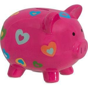 Valentine heart ceramic painted piggy bank.
