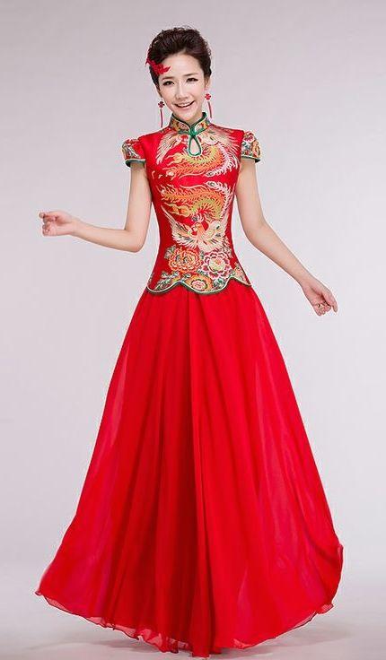Phoenix brocade mandarin collar top floor length two piece set Chinese red cheongsam bridal wedding dress   Modern Qipao