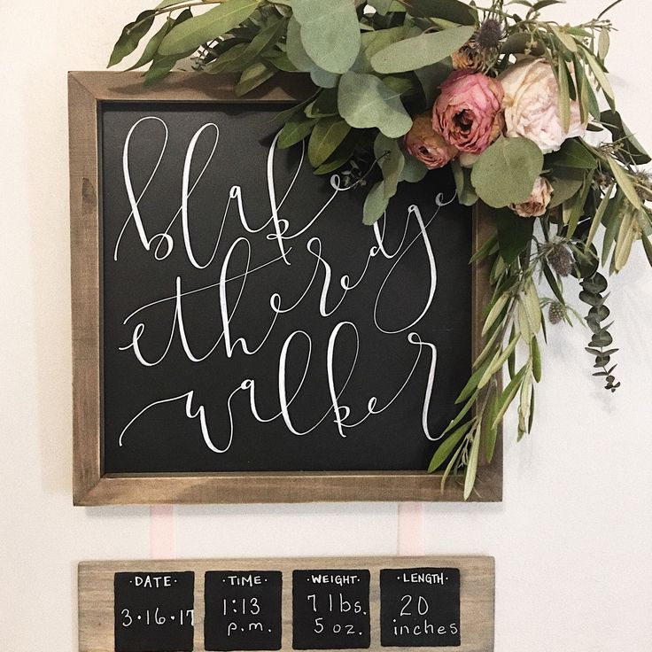 A creative approach to birth announcement signs for the minimal, stylish mommas out there! Complete with hooks for a floral arrangement to be added & velvet ribbon for a soft, feminine touch   Visit the link for more info!