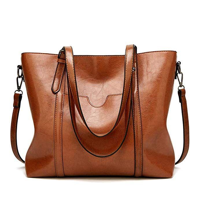 Womens Soft Leather Handbag Large Oil Wax Tote Travel Shoulder Crossbody Bag