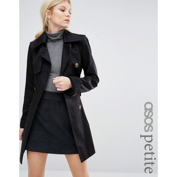ASOS PETITE Classic Trench Coat (£74) ❤ liked on Polyvore featuring outerwear, coats, black, trench coat, petite coats, asos coats, double breasted coat and lined trench coat