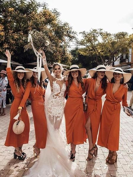 Charming V-Neck Long Sleeves Burnt Orange Chiffon Long Bridesmaid Dresses,FPWG136