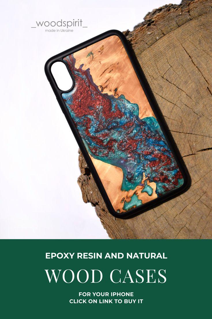 Iphone xr epoxy resin wood case handmade wood phone case