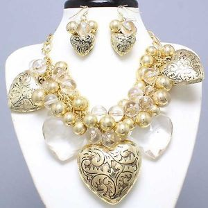 26 best chunky costume jewelry necklaces images on pinterest chunky costume jewelry necklaces big chunky antique gold clear icy mozeypictures Images