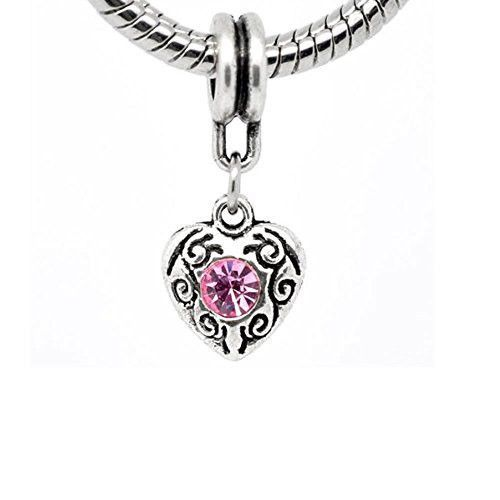 Heart Dangle With June/ October Pink Birthstone Charms For Snake Chain Bracelet