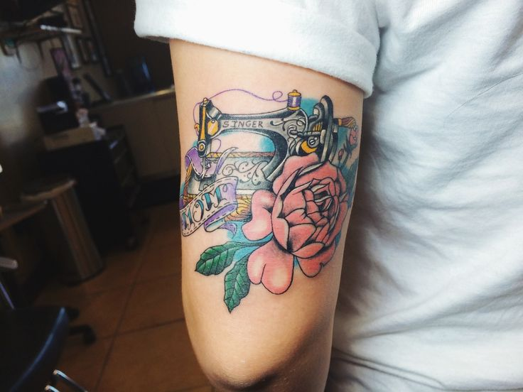 Mom sewing machine tattoo with peony  Done by Tony Nguyen at Dead Crow Tattoo and Piercing, Fountain Valley, CA