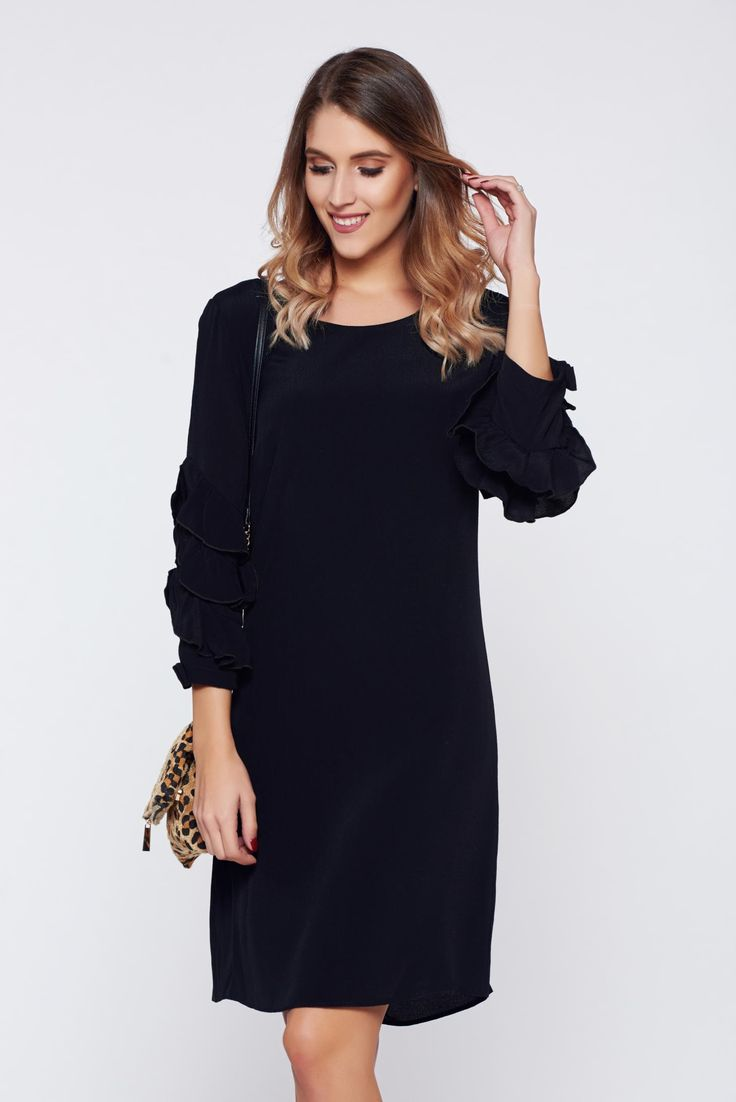 PrettyGirl short black daily dress 3/4 sleeve, easy cut, 3/4 sleeves, Ruffled sleeves
