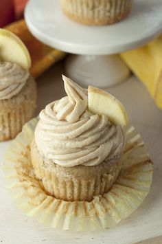 Homemade Apple Cider Cupcakes recipe with creamy Brown Sugar Cinnamon Buttercream Frosting for a great holiday dessert.