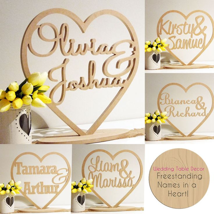 HEART WITH CUSTOM NAMES - FREESTANDING WEDDING WOODEN NAMES SIGNS WORDS - DECOR