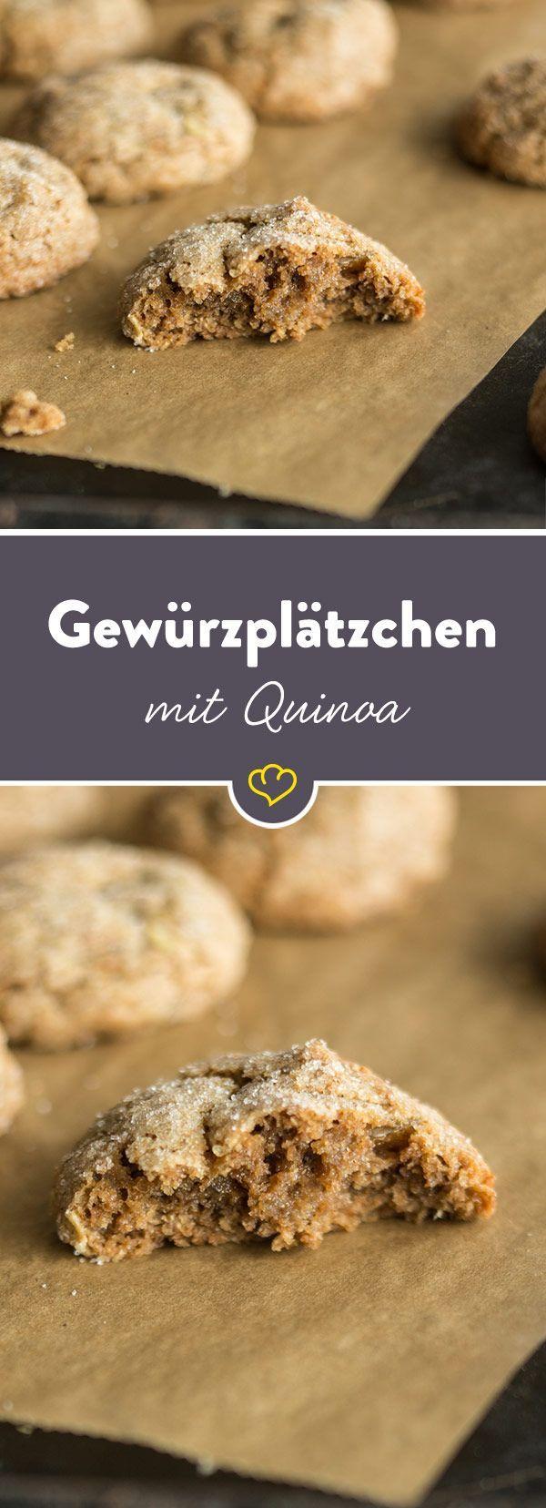 Da diese köstlichen Gewürzplätzchen mit Quinoa-Mehl zubereitet werden, dürfen auch Naschkatzen mit Glutenunverträglichkeit beherzt zugreifen.