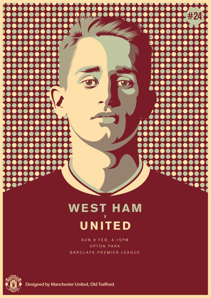 Match poster. West Ham United vs Manchester United, 8 February 2015. Designed by @manutd.