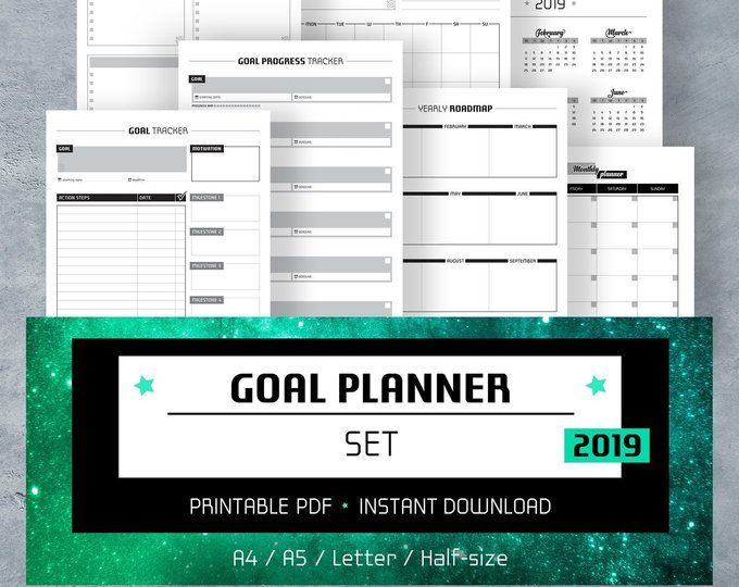 Daily Planner Printable PDF, Bullet Journal Template, Planner Pages