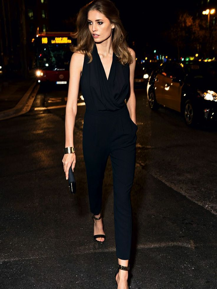 Strappy Sandals + Black Jumpsuit (Mango)