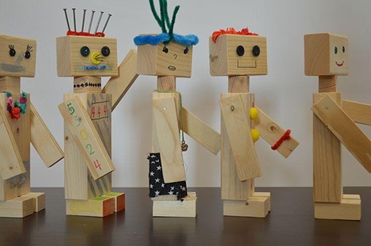 Bouwpakket houten robot (5 stuks)