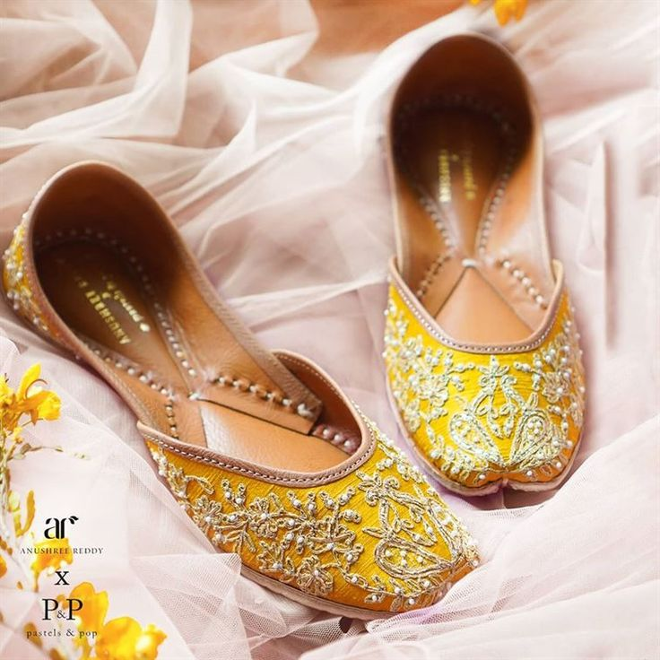 Yellow juttis for mehndi or haldi ceremony in 2020