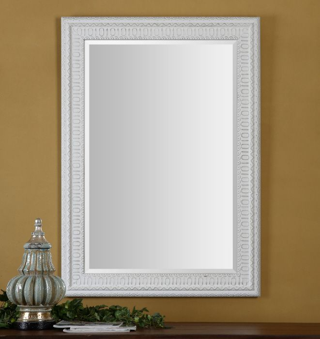 Uttermost Salima Mirror Frame Features A Lightly Distressed White Wash Finish With Rustic Black