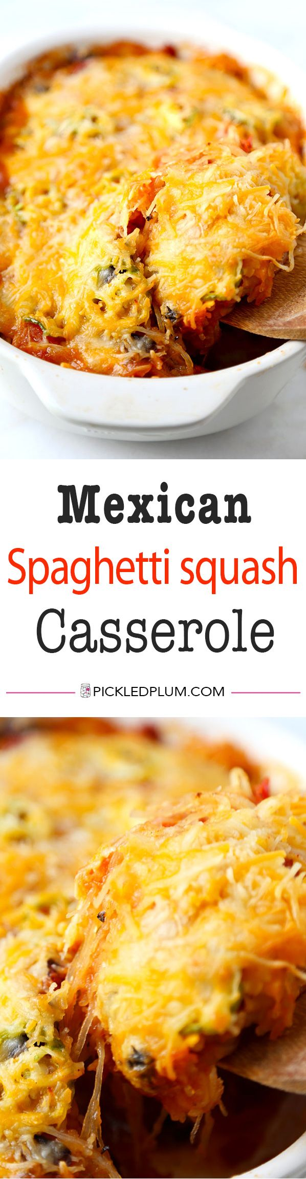 Mexican Spaghetti Squash Casserole With Simple Avocado Salsa - With the colors of autumn and peppy, south-of-the-border flavor, this Mexican Spaghetti Squash Casserole  is healthy dinner perfection! Recipe, baking, vegetables, dinner, casserole, healthy, spaghetti squash | pickledplum.com