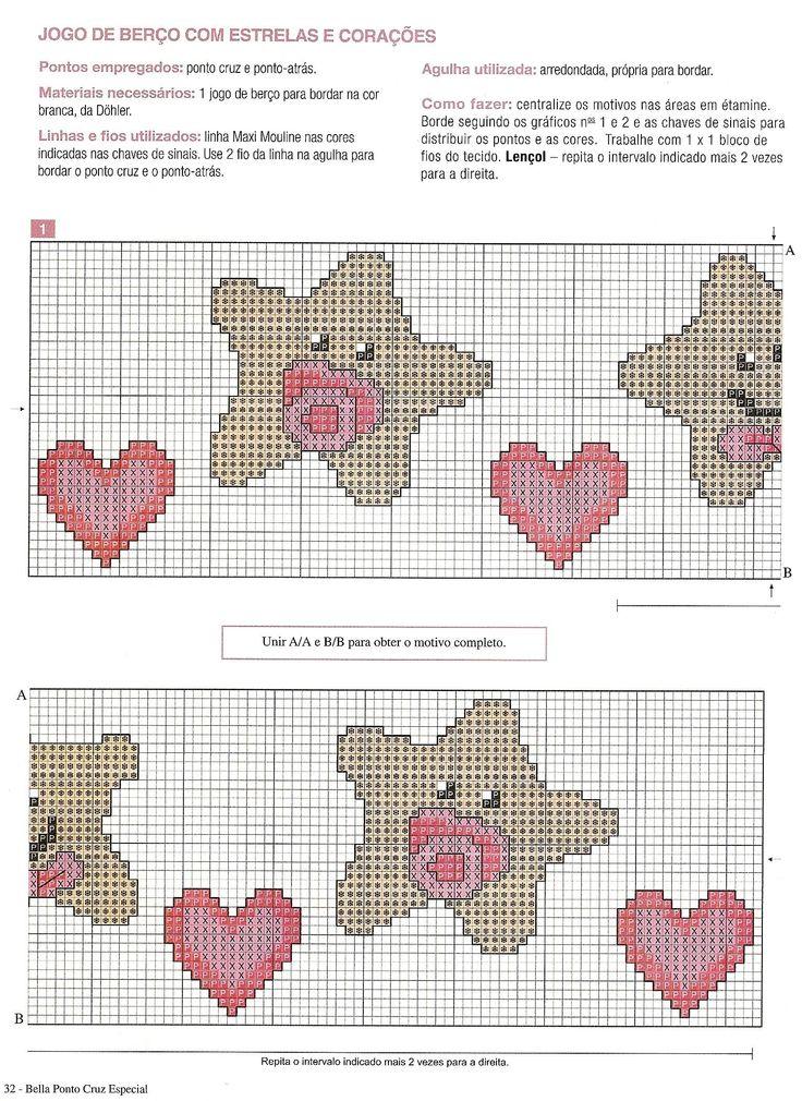 Stelline con ciuccio e cuoro bordi a punto croce per for Lenzuolini punto croce per bambini