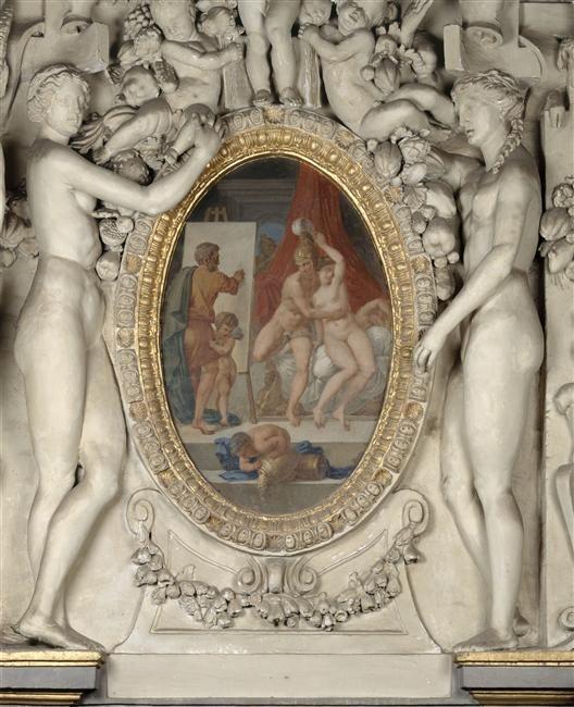 Alexandre Denis Abel de Pujol, d'après Primatice   Alexandre et Campaspe peints par Apelle   1834-1835. Médaillon au dessus de la porte du mur est de l'escalier du Roi, ancienne chambre de la duchesse d'Etampes. D'après une gravure de L. Davent.
