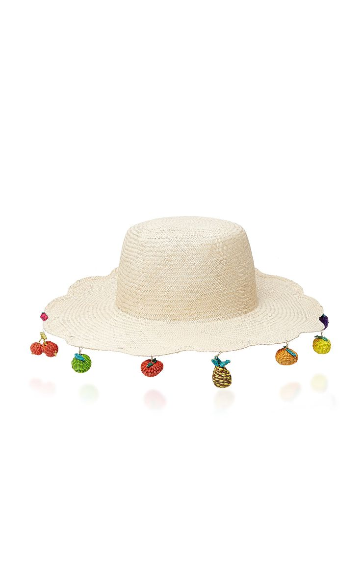 Scalloped Straw Hat with Fruit