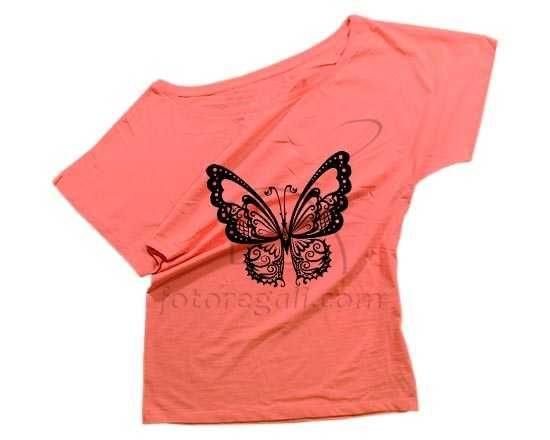 T-shirt donna con farfalla