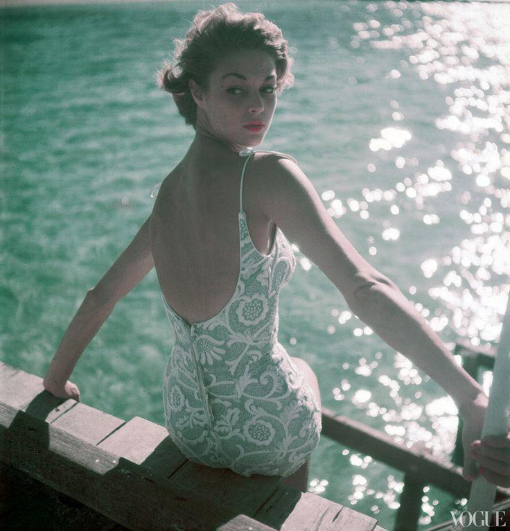 { Vogue, November 15, 1950 } #fashionVintage Swimsuits, Bathing Suits, Clifford Coffin, Fashion Style, Vintage Bath Suits, Jeans, Bath Beautiful, 1950, Vintage Vogue