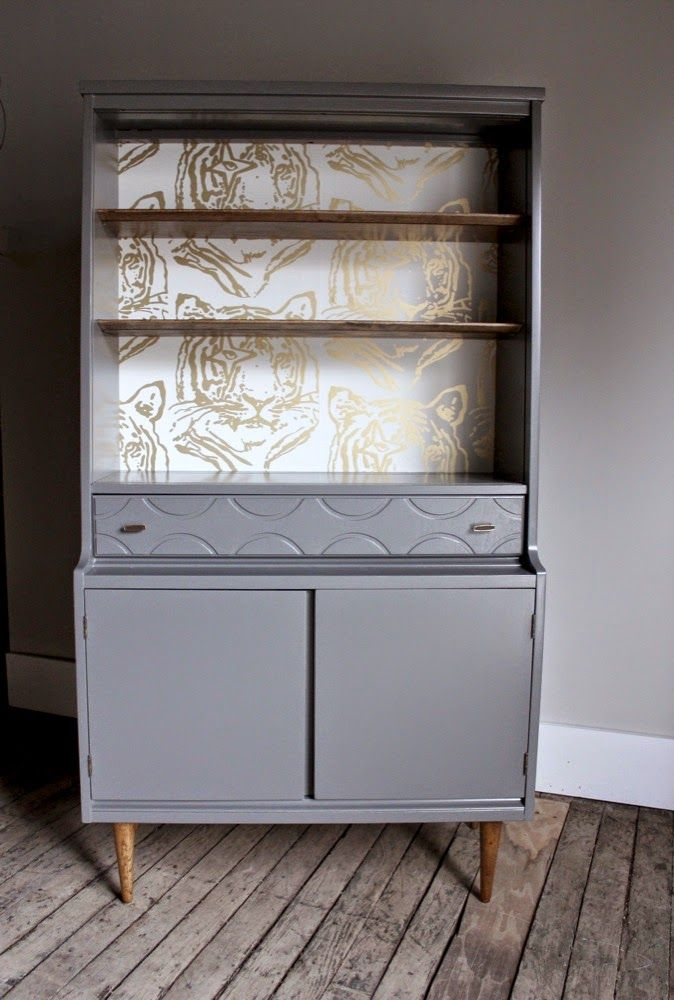 painted refinished mid-century modern vintage hutch w/ aimee wilder/Ivana Helsinki tiger print designer wallpaper and stained wood elements_blue.lamb furnishings