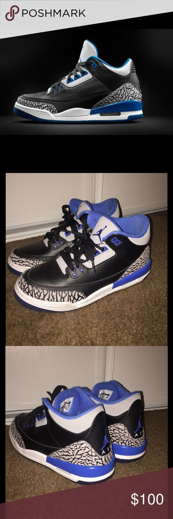 "Air Jordan Retro 3 (Grade School) Air Jordan Retro 3 ""Sports Blue"". Size 7 in youth sizes. Worn few times. Condition 8/10. Jordan Shoes Sneakers"