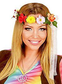 Farbenfroher Haarreif als Festival Accessoires, Flower Power Zubehör oder Schlagermove Kopfschmuck