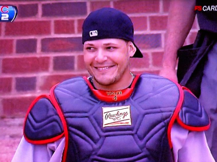 "Haha, love Yadi's expression!! He's thinking, ""Haha, and you thought you could get a lead off me..."""