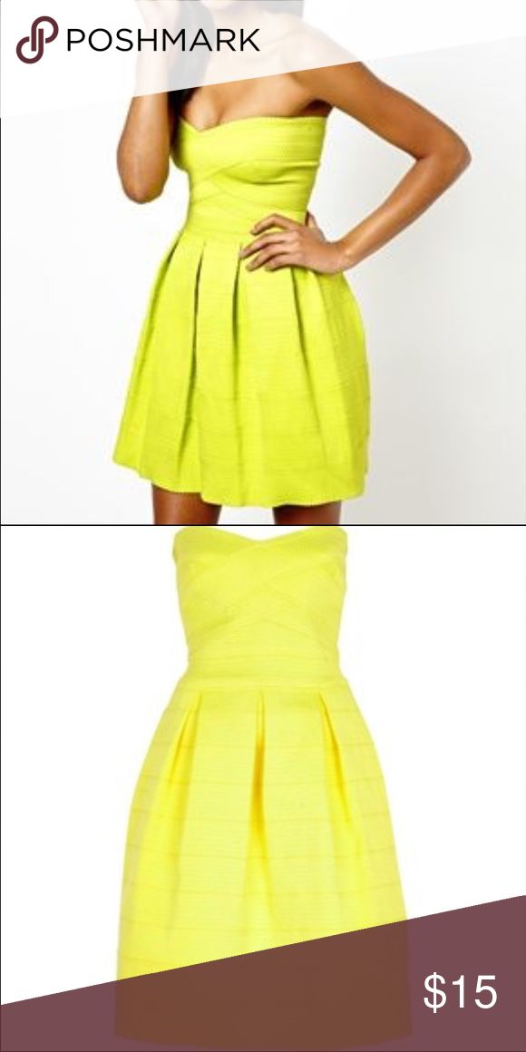River Island Strapless Party Dress Bright Strapless Textured Pleated Dress. River Island Dresses Strapless
