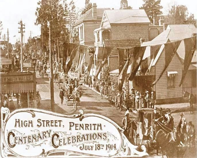 Centenary Celebrations Parade held on High Street., Penrith, NSW 18th July 1914. v@e