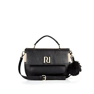 Black pom pom mini satchel bag