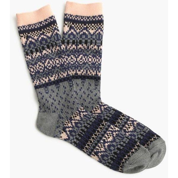 J.Crew Two-Tone Fair Isle Trouser Socks ($19) ❤ liked on Polyvore featuring intimates, hosiery, socks, j crew socks, fair isle socks, print socks, j.crew and patterned hosiery