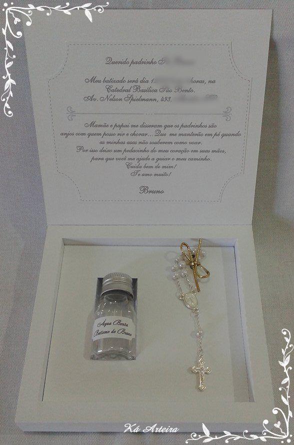 caixa convite padrinhos mini água benta mini terço cartão convite