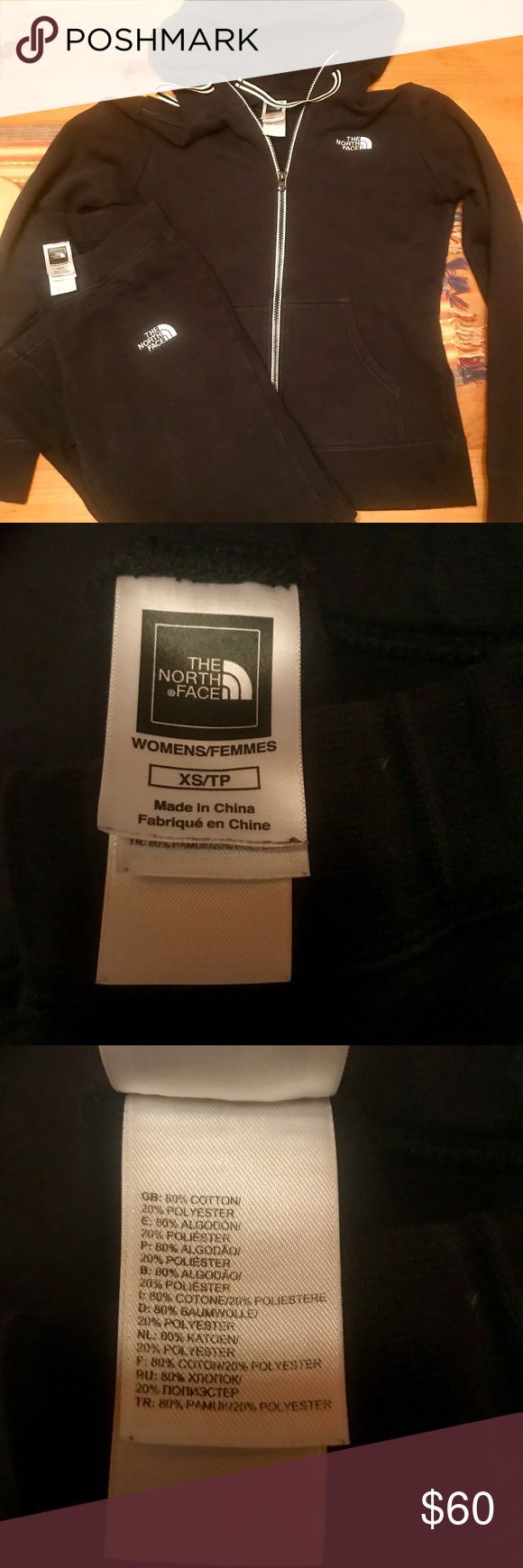 North Face Jacket and Pants Set Warmup set by North Face in black with white detail / kangaroo pockets and hood / drawstring waist / excellent used condition / sz XS The North Face Jackets & Coats Utility Jackets