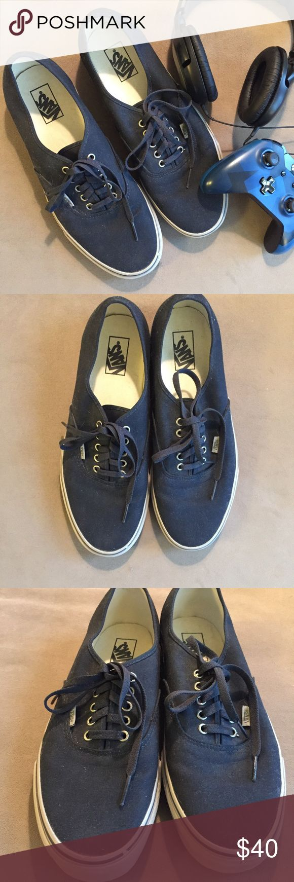 Van's Authentic Navy Mens Sneakers Vans The Authentic, the original and now iconic Vans style, features a simple low top, lace-up profile with sturdy canvas uppers, metal eyelets, and signature rubber waffle outsoles. In Navy color. Size Mens US 13. Vans Shoes Sneakers