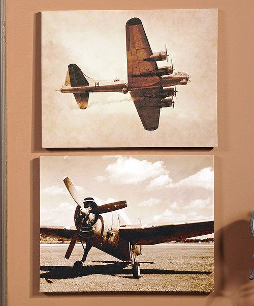 Add a vintage vibe to the home with this pretty pair of aviation-inspired artwork. Imbued with antique appeal, they go great among contemporary or classic décor.
