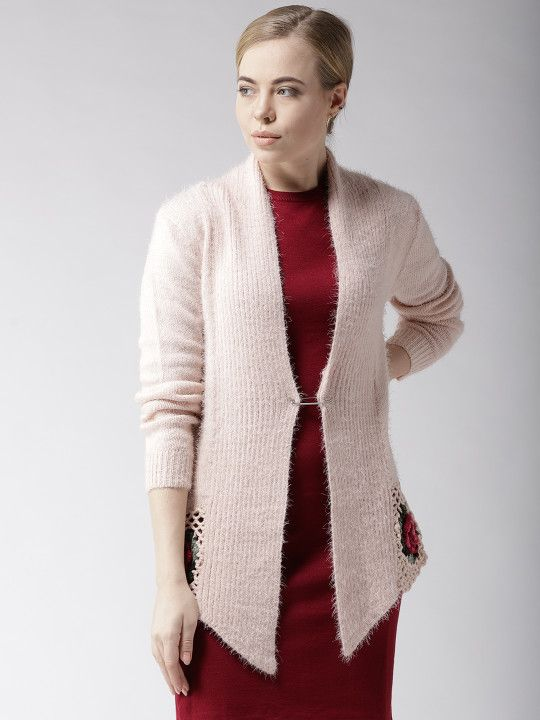 4a7485972 Fort Collins Peach-Coloured Solid Fuzzy Open Front Shrug -