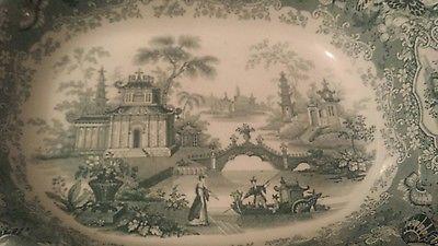 CHIANG NAN CHINA DEEP PLATE GREEN TRANSFER VERY RARE