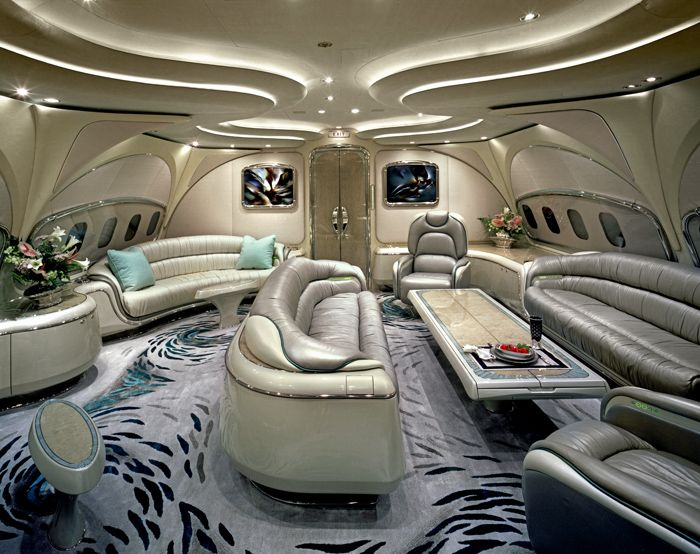Futuristic Private Jet Interior